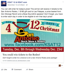 12 Days of Prizes. Great idea from KSAT.