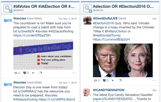 Two hashtag feeds, both alike in dignity...